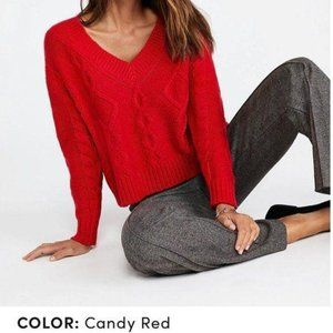 Ann Taylor Red Cable Knit Sweater Size XS